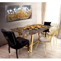 Stół złoty do jadalni z blatem marmurowym