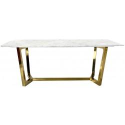 Stół złoty do jadalni z blatem marmurowym syntetycznym
