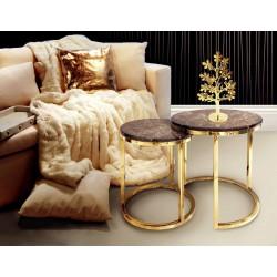 Złote dwa stoliki kawowe z marmurowym blatem