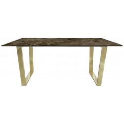 Marmurowy stół brązowy prostokątny - Stół złote nogi do jadalni glamour