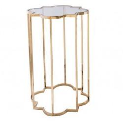 Złoty szklany stolik boczny