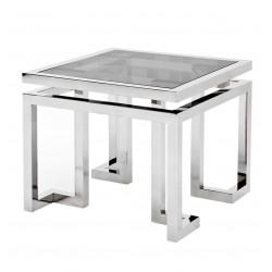 Nowoczesny srebrny stolik boczny ze szklanym blatem