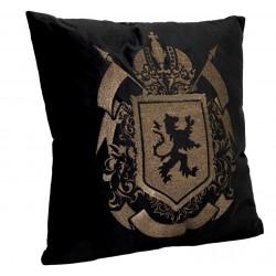 Royal-luksusowa welurowa poduszka czarno-granatowo złota Lew