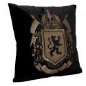 Royal-luksusowa welurowa poduszka wyszywana czarno-złota Lew 50x50
