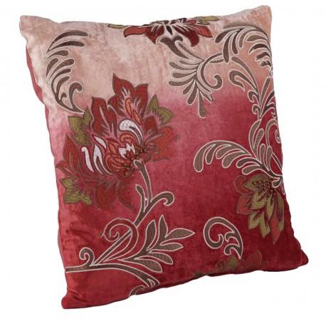 Dekoracyjna welurowa wyszywana poduszka w kwiaty Boho