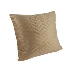 Elegancka miodowa pikowana w jodełkę welurowa poduszka do sypialni