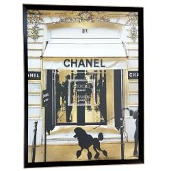 Obraz Art Deco salon-sypialnia w czarnej-złotej ramie