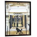 Obraz Art Deco salon-sypialnia w czarnej-złotej ramie 96.5x73.5x3x3