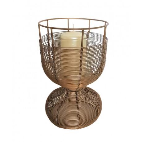 Nowoczesny lampion złoty metalowy