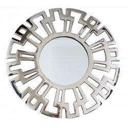 Niklowane lustro Ø46 do sypialni nad łóżko wzór Versace
