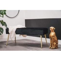 Tapicerowana czarna ławka do przedpokoju