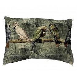 Welurowa egzotyczna zielona poduszka w ptaki