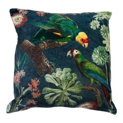 Welurowa egzotyczna poduszka w ptaki