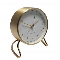 Elegancki zegar stojący biało złoty z budzikiem na stolik nocny
