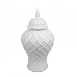 Luksusowa biała amfora ceramiczna-waza dekoracyjna h41