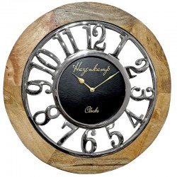 Luksusowy zegar ścienny drewniany-metalowy
