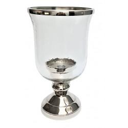 Elegancki lampion srebrny na świecę glamour