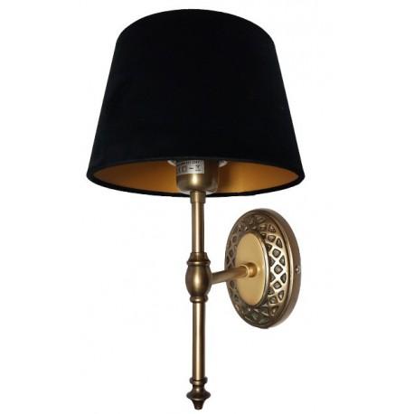 Stylizowany złoty kinkiet do salonu lub łazienki obok lustra
