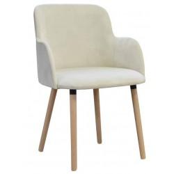 Fotel kremowy na drewnianych nogach