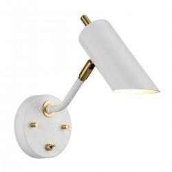 Biało złoty kinkiet nad łóżko do sypialni z włącznikiem