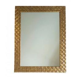 Nowoczesne lustro w drewnianej złotej ramie Art Deco
