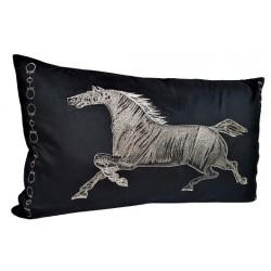 Elegancka czarno złota poduszka dekoracyjna z koniem