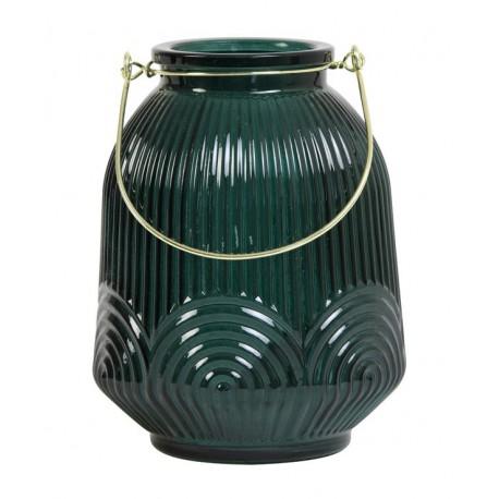 Szklany zielony lampion z uchwytem