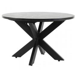 Czarna okrągła ława stolik z marmurowym blatem Ø65