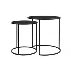 Zestaw 2 stolików czarne metalowe stoliki boczne dostawiane