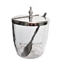 Luksusowa szklana cukierniczka z łyżeczką glamour