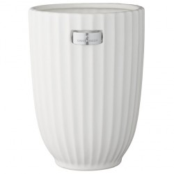 Lene Bjerre elegancki biały ceramiczy wazon na kwiaty