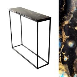 Czarna loftowa metalowa konsola do przedpokoju