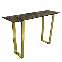 Elegancka złota konsola glamour blat marmur