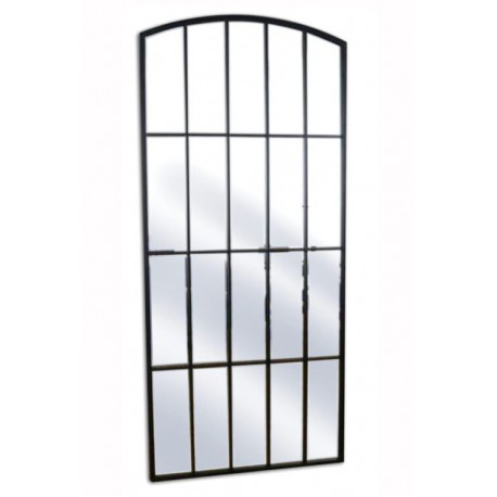Loftowe lustro w czarnej metalowej ramie 76/170