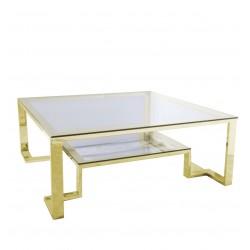 Kwadratowy stolik kawowy ze szklanym blatem - Stolik kawowy na złotych nogach
