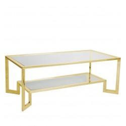 Złota ława ze szklanym blatem - Elegancki stolik kawowy do salon
