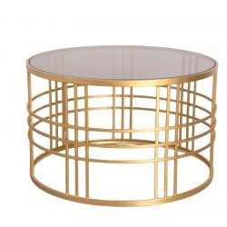 Okrągły stolik kawowy złoty szyba dymiona