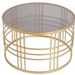 Okrągły złoty stolik kawowy szyba dymiona