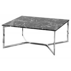 Nowoczesny kwadratowy stolik kawowy na metalowych nogach marmur syntetyczny