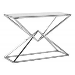 Szklany geometryczny stolik kawowy glamour