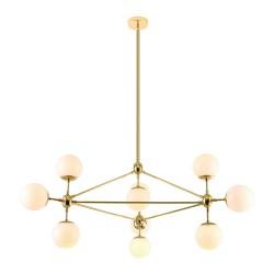 Nowoczesna złota lampa wisząca białe kule