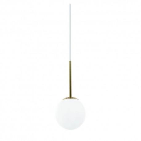 Nowoczesna złota lampa wisząca ip44 biała kula szklana