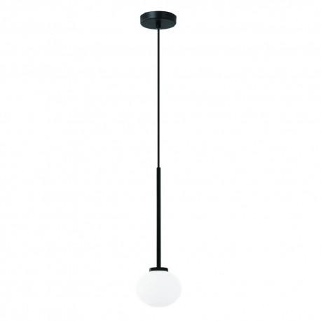 Nowoczesna czarna lampa wisząca biała kula szklana