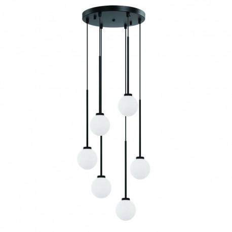 Nowoczesna czarna lampa wisząca białe kule