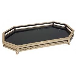 Elegancka nowoczesna złota tacka z lustrem pod świeczki