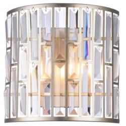 Elegancki złoty kinkiet szklane kryształy