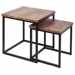 Loftowe stoliki pomocnicze drewno egzotyczne