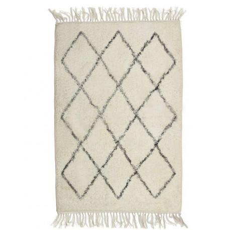 Biały bawełniany chodniczek do sypialni Shaggy 60x90