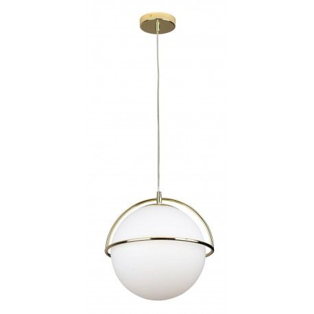 Luksusowa lampa wisząca biała kula ze złotem