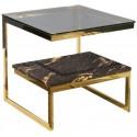 Kwadratowy stolik boczny złoty czarno złoty marmur blat